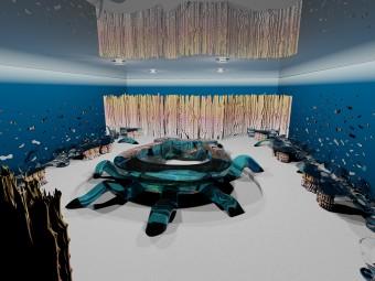 """Il fascino della flora e della fauna del fondo dell'oceano ha ispirato questo originale spazio, che rappresenta un connubio perfetto tra tecnologie innovative e design esclusivo. Pavimento in resina epossidica """"Effetto sabbia bianca"""" (GOBBETTO). Soffitto teso Bianco Tradizionale (BARRISOL). Finitura dei muri perimetrali in gradiente del blu opaco vellutato (SIKKENS). Pareti decorative """"Barriera Corallina"""" in resina colorata (BEZUS)."""