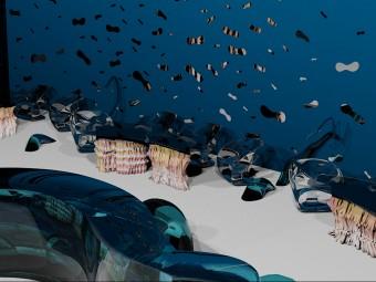 """Superfici delle pareti perimetrali decorate con elementi amorfi in specchio """"Molluschi"""". Tavolini in cristallo con base in resina colorata (BEZUS)."""