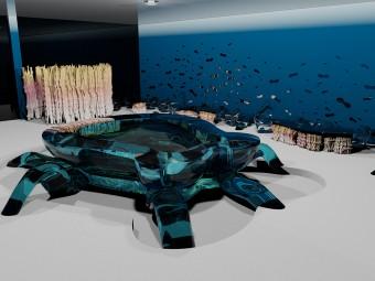"""Bancone Bar """"Octopus"""" in resina trasparente colore azzurro (BEZUS). Pareti decorative """"Barriera Corallina"""" in resina colorata (BEZUS)."""