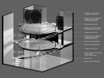 Modello 3D. Trasformazioni di linee e volumi uniscono diverse zone dell'interno in uno spazio unico e dinamico.